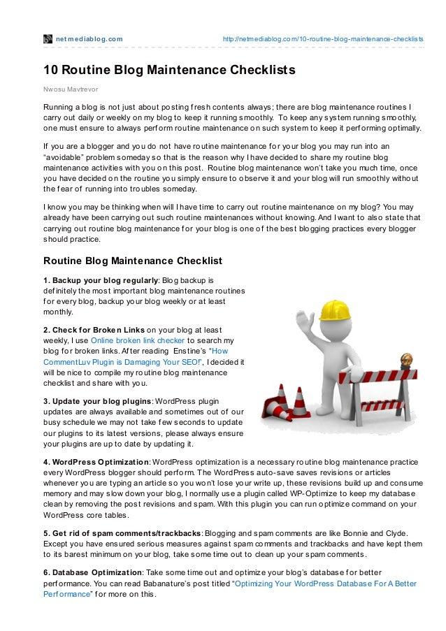 net mediablog.com http://netmediablog.com/10-routine-blog-maintenance-checklists10 Routine Blog Maintenance ChecklistsNwos...