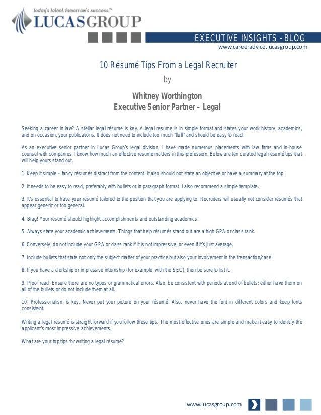 10 Résumé Tips From a Legal Recruiter