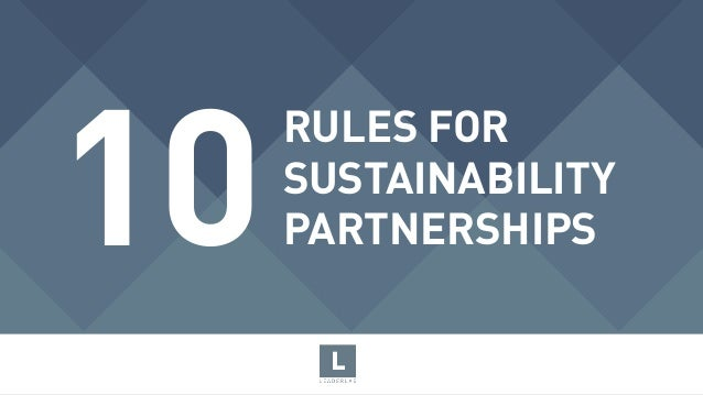 RULES FOR  SUSTAINABILITY PARTNERSHIPS10
