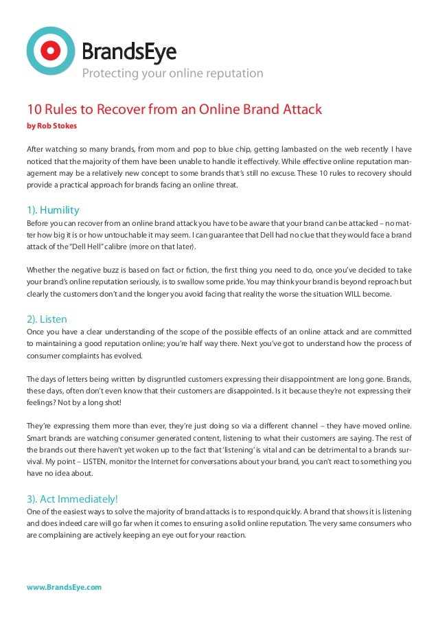 10 rules to recover from an online brand attack