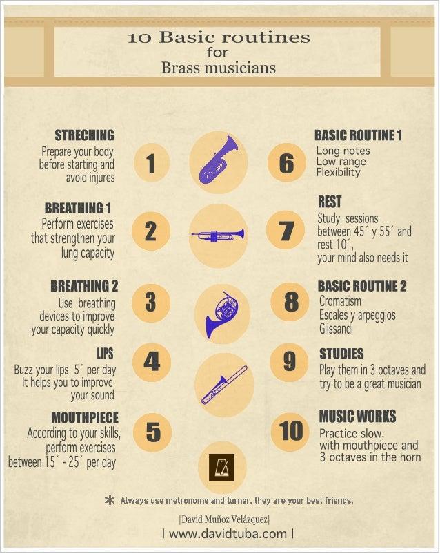 10 Basic routines  for Brass II111S1C1aIlS     STIIEGIIINII BASIII IIIIIITINH Prepare your body L009 notes before starting...