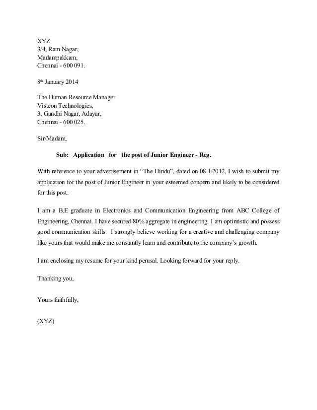 Application Letter For Junior Engineer - Mechanical Engineer Cover ...