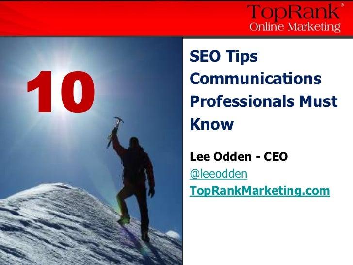 10 SEO Tips for Communications & PR