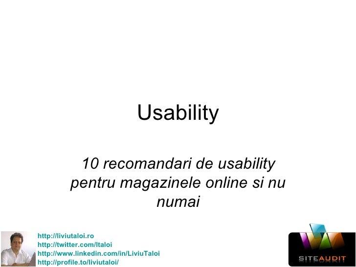 Usability 10 recomandari de usability pentru magazinele online si nu numai