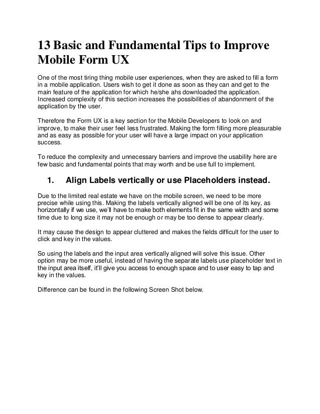 13 Basic and Fundamental Tips to Improve Mobile Form UX