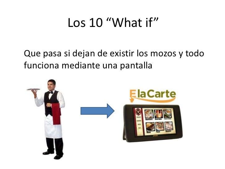 """Los 10 """"Whatif""""<br />Que pasa si dejan de existir los mozos y todo funciona mediante una pantalla<br />"""