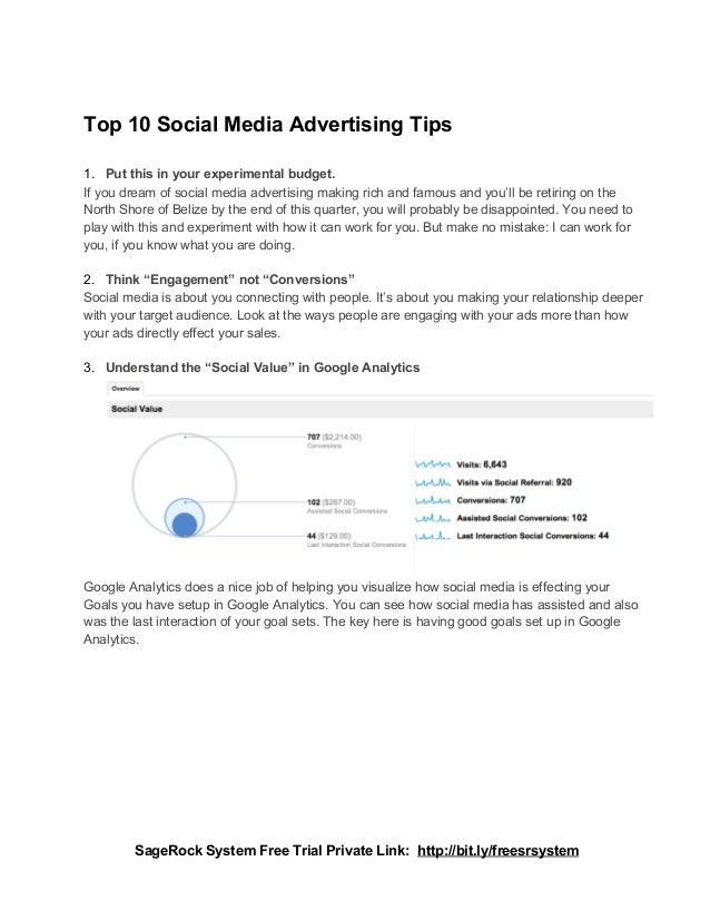 Top10SocialMediaAdvertisingTips1. Putthisinyourexperimentalbudget.Ifyoudreamofsocialmediaadvertisingmakin...