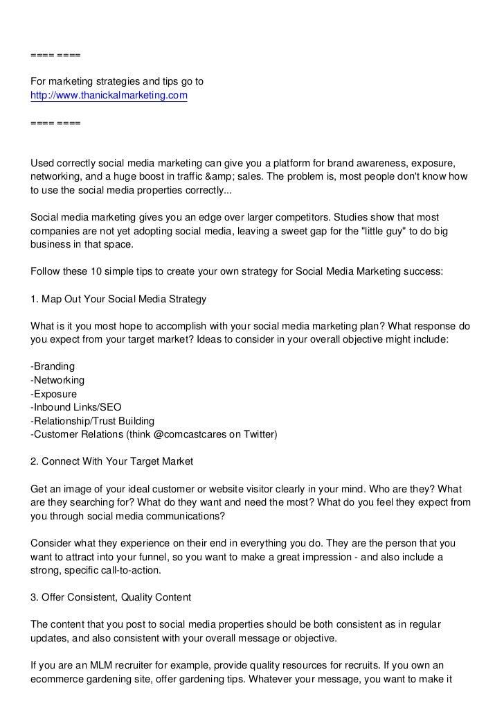 ==== ====For marketing strategies and tips go tohttp://www.thanickalmarketing.com==== ====Used correctly social media mark...