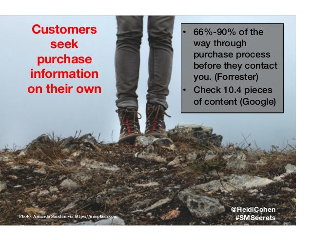 Customers seek purchase information on their own Photo: Amanda Sandlin via https://unsplash.com @HeidiCohen #SMSecrets • ...