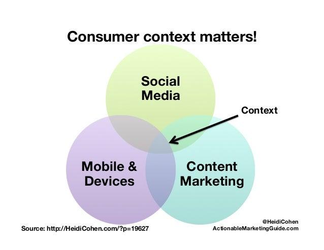 Consumer context matters! Social Media Content Marketing Mobile & Devices Source: http://HeidiCohen.com/?p=19627  @HeidiCo...