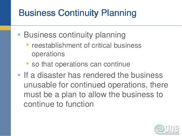 Business continuity plan as a part