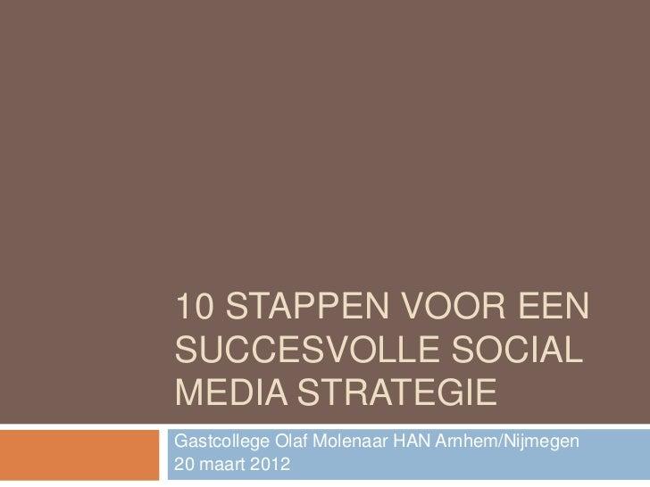 10 STAPPEN VOOR EENSUCCESVOLLE SOCIALMEDIA STRATEGIEGastcollege Olaf Molenaar HAN Arnhem/Nijmegen20 maart 2012