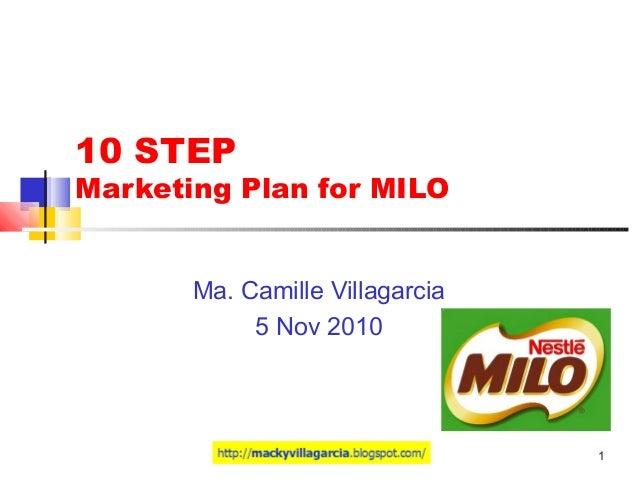 1 10 STEP Marketing Plan for MILO Ma. Camille Villagarcia 5 Nov 2010