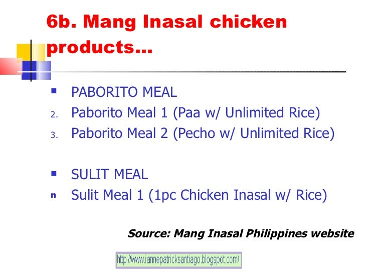 """marketing plan of mang inasal """"jollibee buying mang inasal is a proof that if  it also helped that had the marketing know-how to  – the estimated contribution of mang insal to ."""