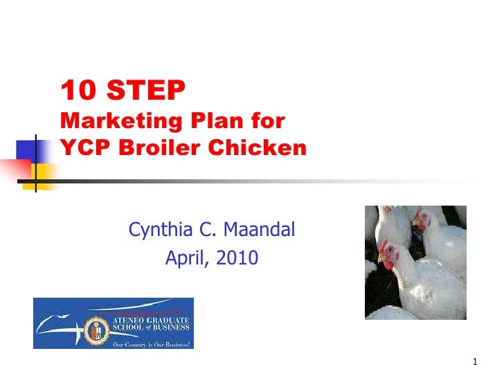 1<br />10 STEP Marketing Plan for YCP Broiler Chicken<br />Product <br />Photo here<br />Cynthia C. Maandal<br />April, 20...