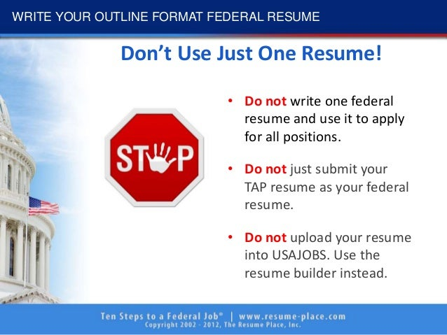 federal resume write your outline format federal resume 12