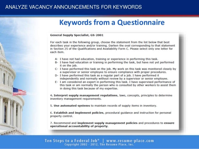 keywords to get you hired How to Create Outstanding Keyword Headers for Your Outline Format Federal  Resume   The Resume Place