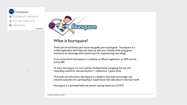 crunchbase Foursquare 2009: Raised $1.35M Series A $207.3M in Total Funding Still Operating