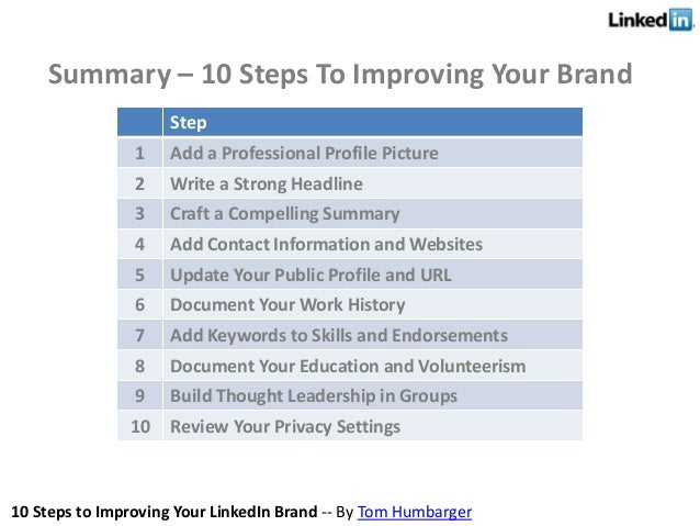 10 Steps to Improving Your LinkedIn Brand -- By Tom Humbarger Summary – 10 Steps To Improving Your Brand Step 1 Add a Prof...