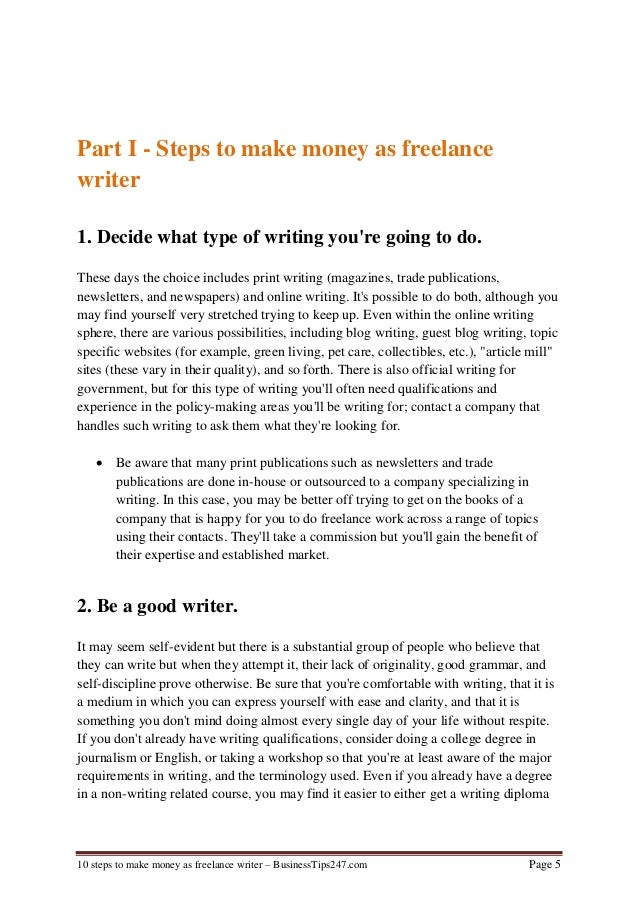 steps to make money as lance writer