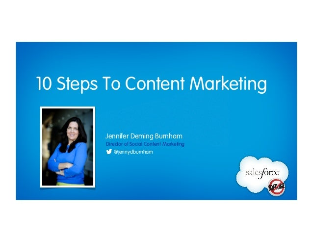 10 Steps To Content Marketing Director of Social Content Marketing Jennifer Deming Burnham @jennydburnham