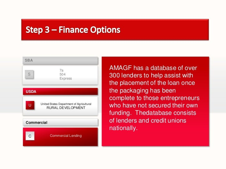 Step 3 – Finance Options<br />SBA<br />C<br />AMAGF has a database of over 300 lenders to help assist with the placement o...