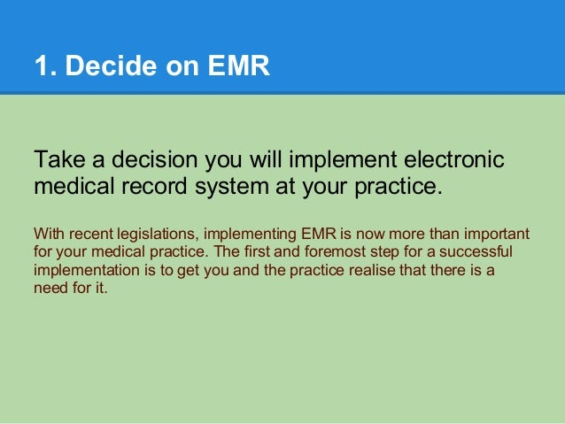 implementing electronic health record The spanish peaks regional health center, based in walsenburg, co, plans to  make the transition to an electronic health records system before the end of.