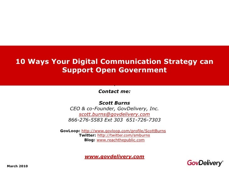 10 Ways Your Digital Communication Strategy can               Support Open Government                                  Con...