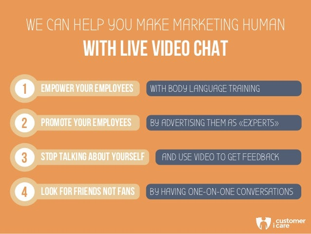 WITH LIVE VIDEO CHAT WE CAN HELP YOU MAKE MARKETING HUMAN 1 EMPOWER YOUR EMPLOYEES WITH BODY LANGUAGE TRAINING 2 PROMOTE Y...
