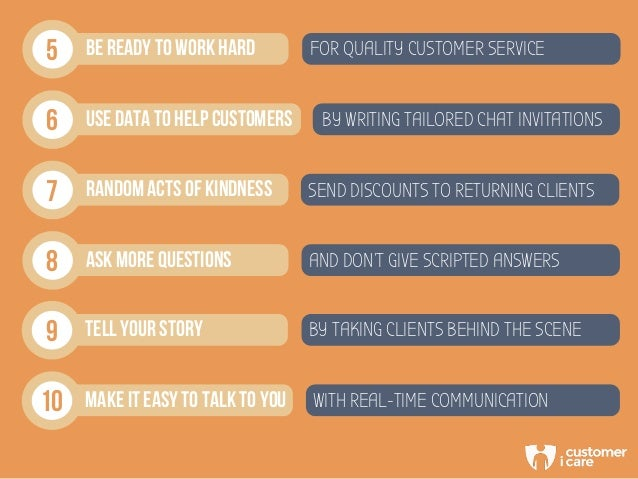 5 BE READY TO WORK HARD FOR QUALITY CUSTOMER SERVICE 6 USE DATA TO HELP CUSTOMERS BY WRITING TAILORED CHAT INVITATIONS 7 R...