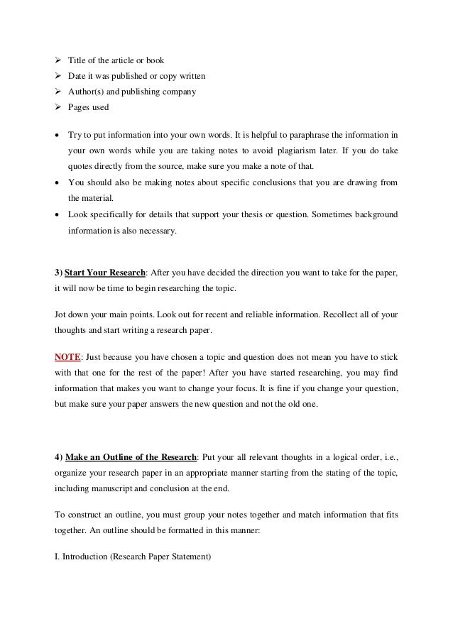 simple steps to writing a research paper