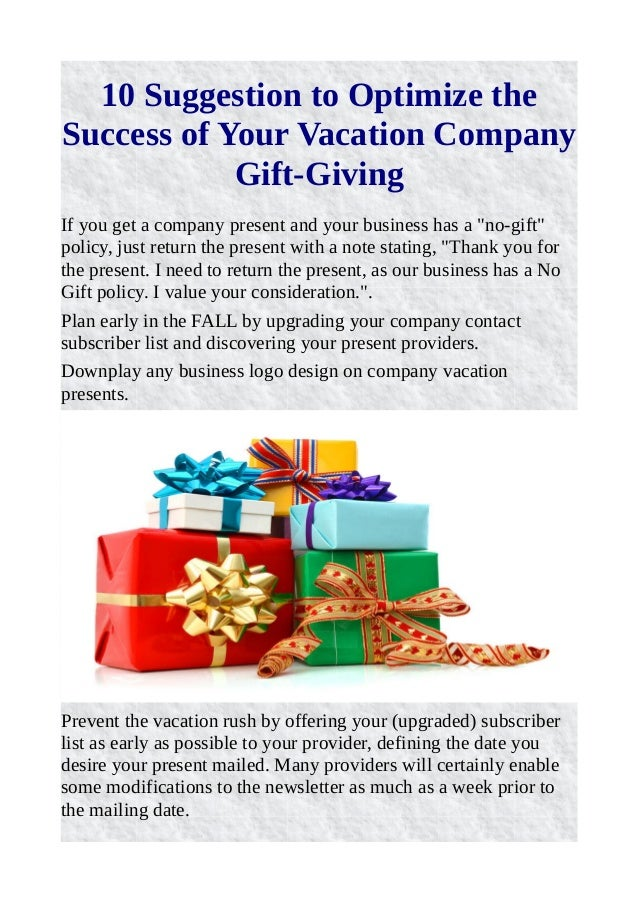 10 suggestion to optimize the success of your vacation company gift g…