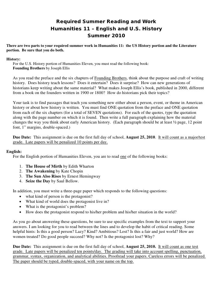 Required Summer Reading and Work                            Humanities 11 – English and U.S. History                      ...