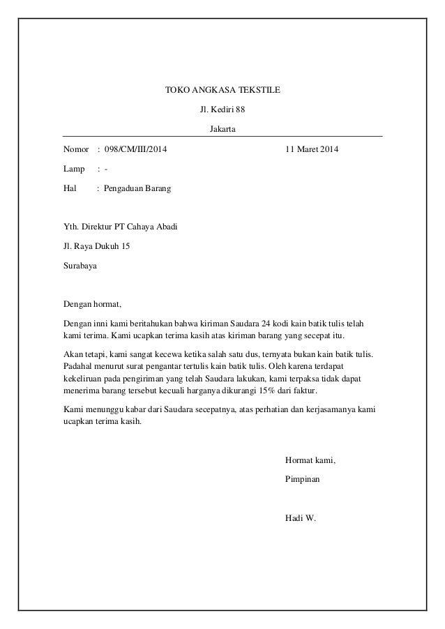 Contoh Surat Contoh Surat Pengaduan Barang Rusak