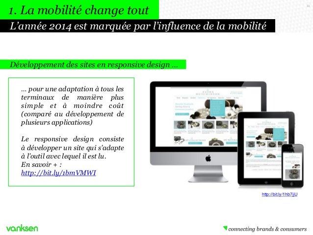 1. La mobilité change tout  11  L'année 2014 est marquée par l'influence de la mobilité  Développement des sites en respon...