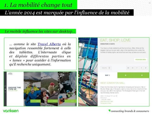 1. La mobilité change tout L'année 2014 est marquée par l'influence de la mobilité  Le mobile influence les sites sur desk...