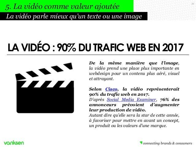 5. La vidéo comme valeur ajoutée La vidéo parle mieux qu'un texte ou une image  LA VIDÉO : 90% DU TRAFIC WEB EN 2017 De la...
