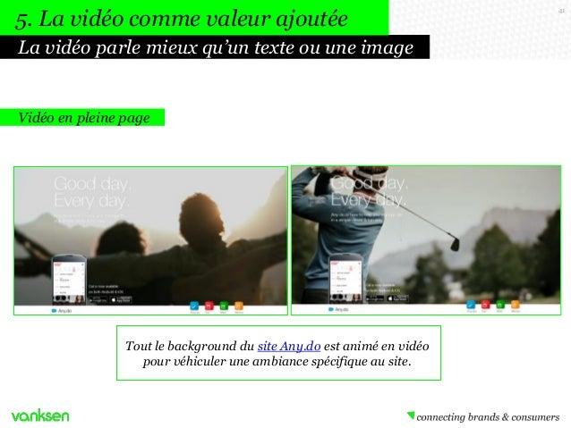 5. La vidéo comme valeur ajoutée La vidéo parle mieux qu'un texte ou une image  Vidéo en pleine page  Tout le background d...