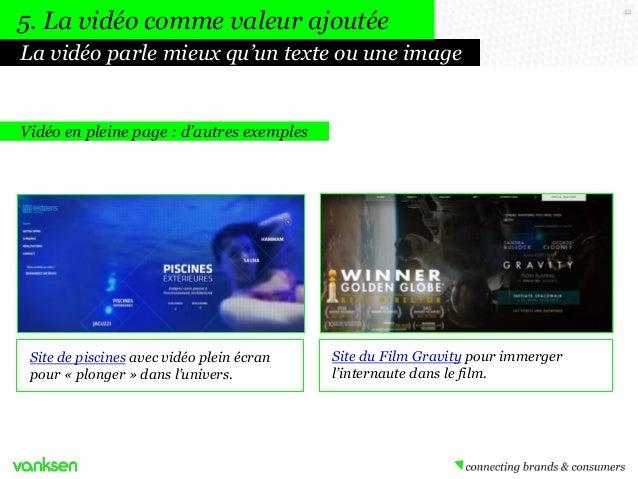 5. La vidéo comme valeur ajoutée La vidéo parle mieux qu'un texte ou une image  Vidéo en pleine page : d'autres exemples  ...