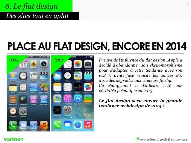 6. Le flat design  47  Des sites tout en aplat  PLACE AU FLAT DESIGN, ENCORE EN 2014 iOS6  iOS7  Preuve de l'influence du ...