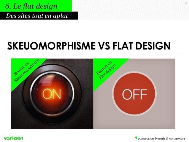 6. Le flat design Des sites tout en aplat  SKEUOMORPHISME VS FLAT DESIGN  48