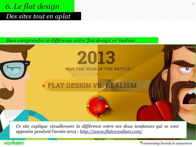 6. Le flat design Des sites tout en aplat  Bien comprendre la différence entre 'flat design' et 'realism'  Ce site expliqu...