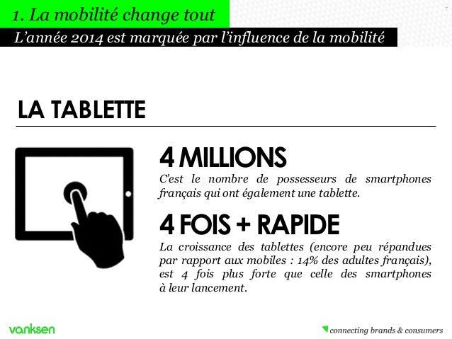 1. La mobilité change tout L'année 2014 est marquée par l'influence de la mobilité  LA TABLETTE  4 MILLIONS  C'est le nomb...