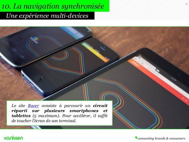 10. La navigation synchronisée Une expérience multi-devices  Le site Racer consiste à parcourir un circuit réparti sur plu...