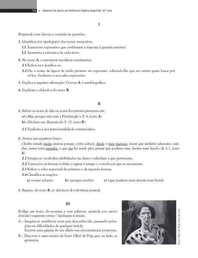 18 • Caderno de Apoio ao Professor Página Seguinte 10.o ano  Testes de Avaliação 3  Textos de Carácter Autobiográfico  Lê ...