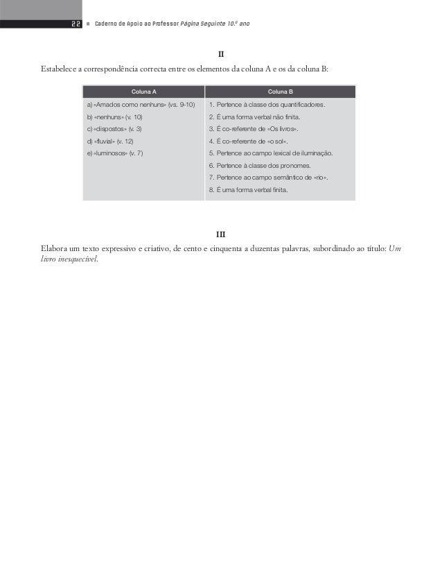 24 • Caderno de Apoio ao Professor Página Seguinte 10.o ano  Lê atentamente o poema.  Teste de Avaliação 5  Textos Express...