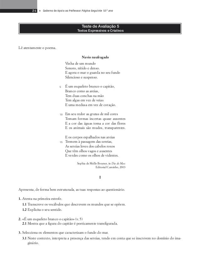 26 • Caderno de Apoio ao Professor Página Seguinte 10.o ano  Proposta de correcção  I  1.1 À superfície (Terra) – «Sonoro,...