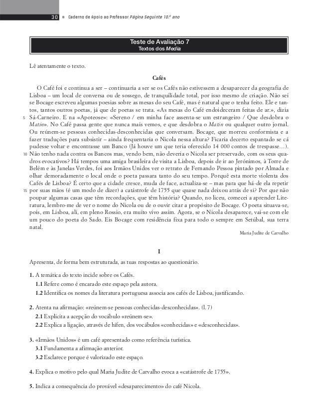 32 • Caderno de Apoio ao Professor Página Seguinte 10.o ano  III  Resume o texto a seguir transcrito, constituído por duze...