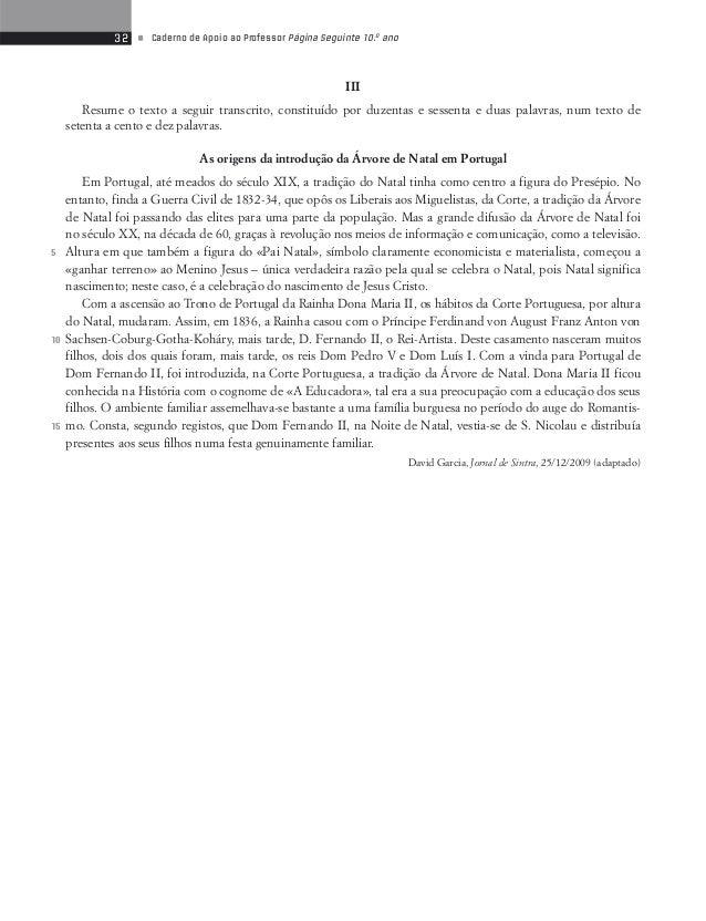 34 • Caderno de Apoio ao Professor Página Seguinte 10.o ano  Teste de Avaliação 8  Contos do Século XX  Foi por estas altu...