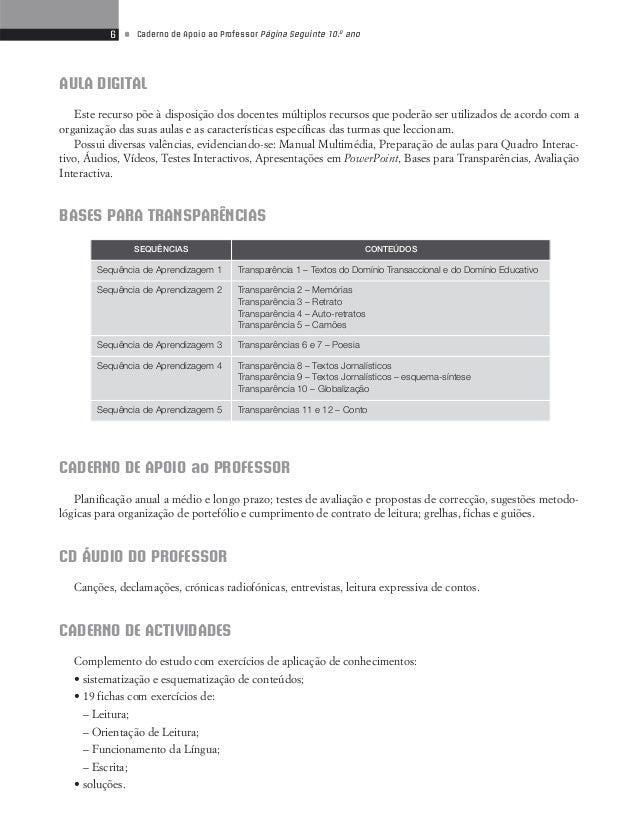 8 • Caderno de Apoio ao Professor Página Seguinte 10.o ano  Período Conteúdos Sequências Conteúdos / Blocos Suportes  2.o ...